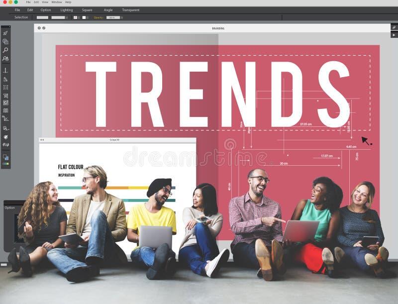 Trends Trendy Design Modern Style Concept. People Discuss Trendy Design Modern Style stock image