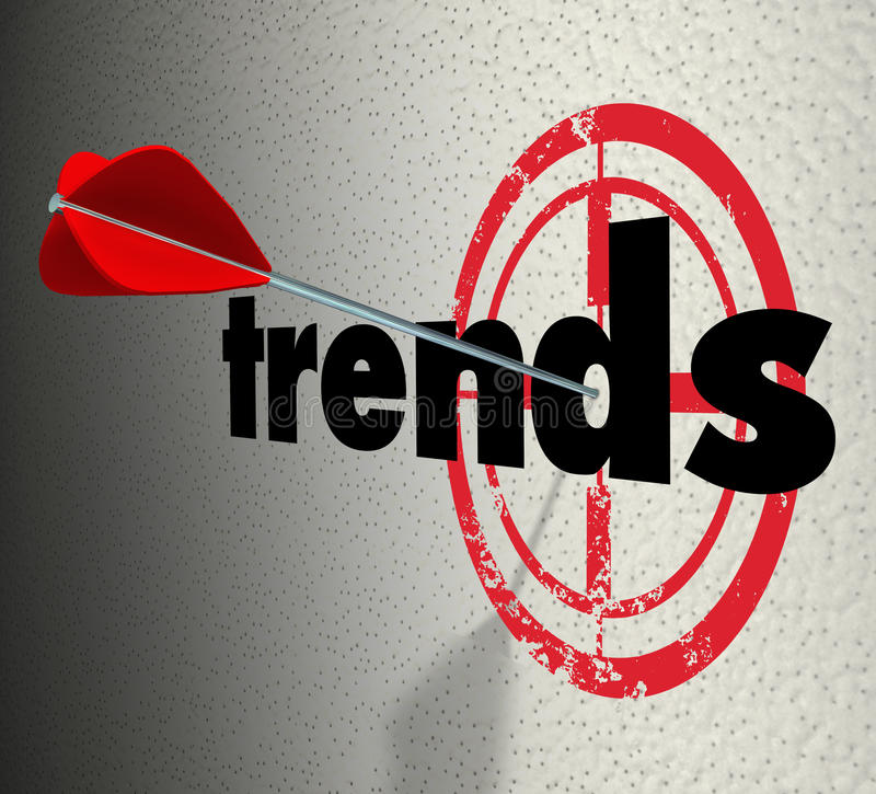 Trends Words Target Wall Fad Bulls-Eye Current Popular Product. Trends word on a wall with bulls-eye and arrow hitting the target to illustrate fads or current royalty free illustration
