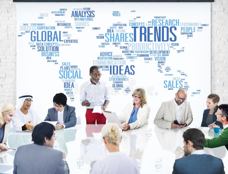 Trends World Map Marketing Ideas Social Style Concept.  royalty free stock images