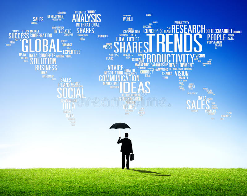 Trends World Map Marketing Ideas Social Style Concept.  royalty free stock image