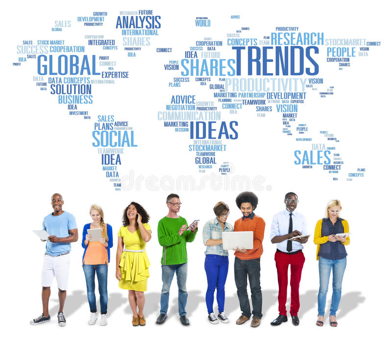 Trends World Map Marketing Ideas Social Style Concept. People Discussing Trends Marketing Ideas Style stock images