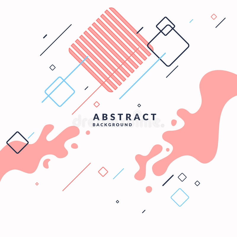 Trendy abstract background. Composition of geometric shapes and splash. stock illustration