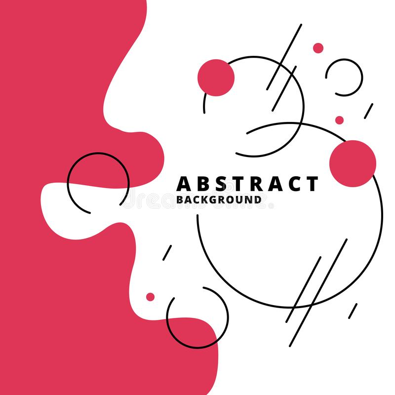 Trendy abstract background. Composition of geometric shapes and splashes. Red elements on white layout. Vector illustration for royalty free illustration
