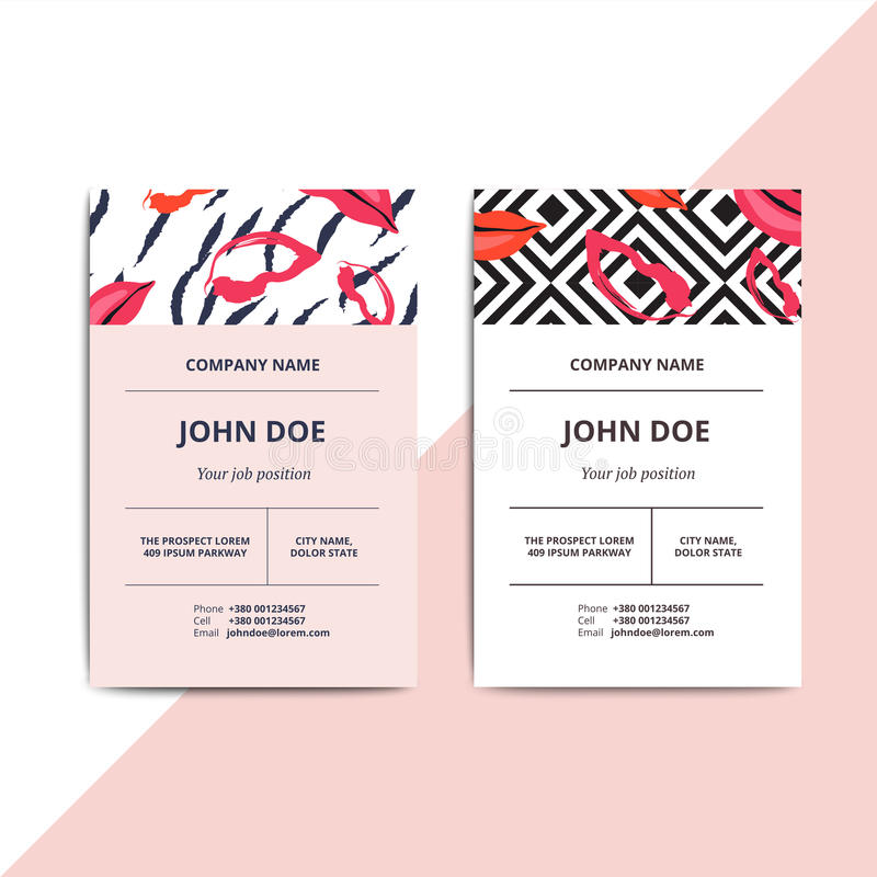 Trendy abstract business card templates. Modern luxury beauty sa. Lon or cosmetic shop layout with artistic lips pattern. Vector fashion glamour background vector illustration
