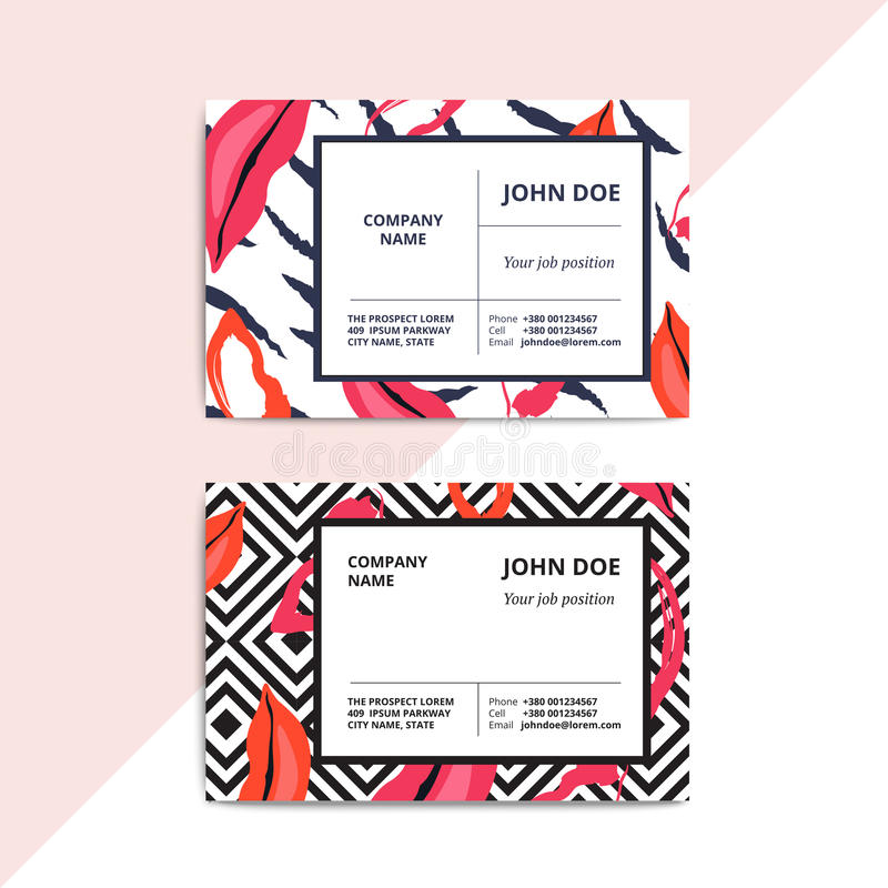 Trendy abstract business card templates. Modern luxury beauty sa. Lon or cosmetic shop layout with artistic lips pattern. Vector fashion glamour background royalty free illustration
