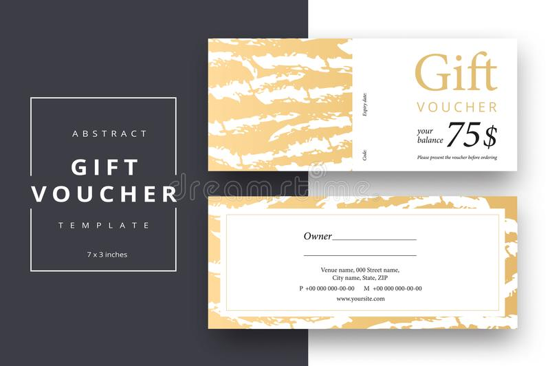 Trendy abstract gift voucher card templates. Modern discount coupon or certificate layout with artistic stroke pattern. Vector fa stock illustration