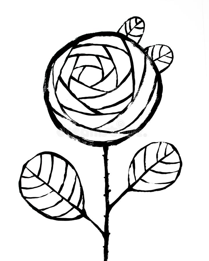 Black Rose on White Background. Abstract Interior Poster. Hipster Abstract Interior Poster. Template to Print High Resolution Qual vector illustration