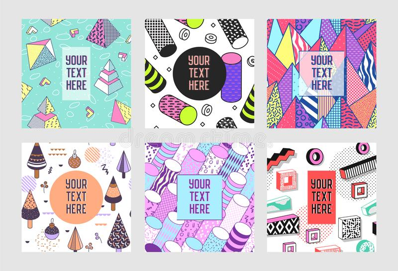 Trendy Abstract Memphis Poster Templates Set with Place for your Text. Hipster Geometric Banners Backgrounds 80-90 Vintage Style. Vector illustration vector illustration
