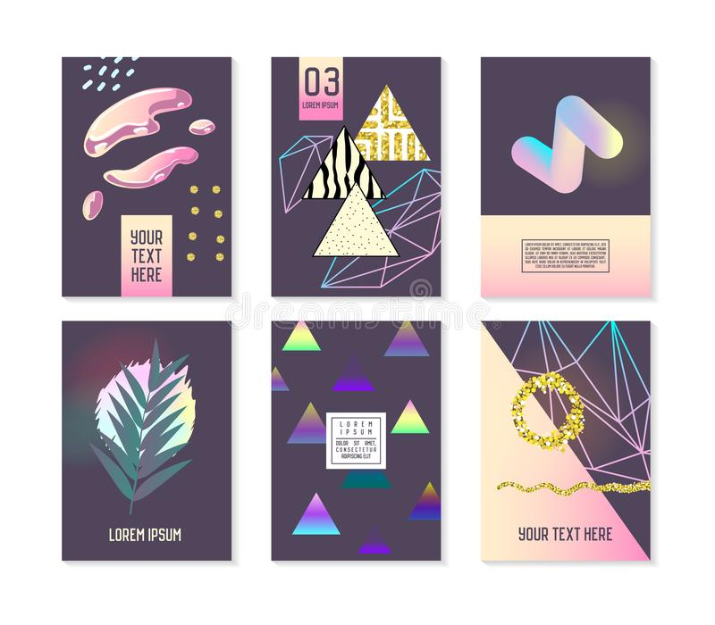 Trendy Abstract Posters Set with Place for your Text and Golden Elements. Hipster Geometric Banners, Placards stock illustration