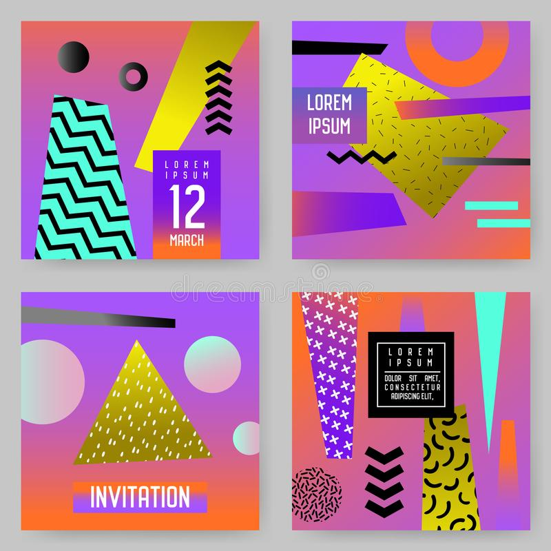 Trendy Abstract Posters Set with Place for your Text. Hipster Geometric Banners, Placards, Backgrounds 80-90 Vintage vector illustration