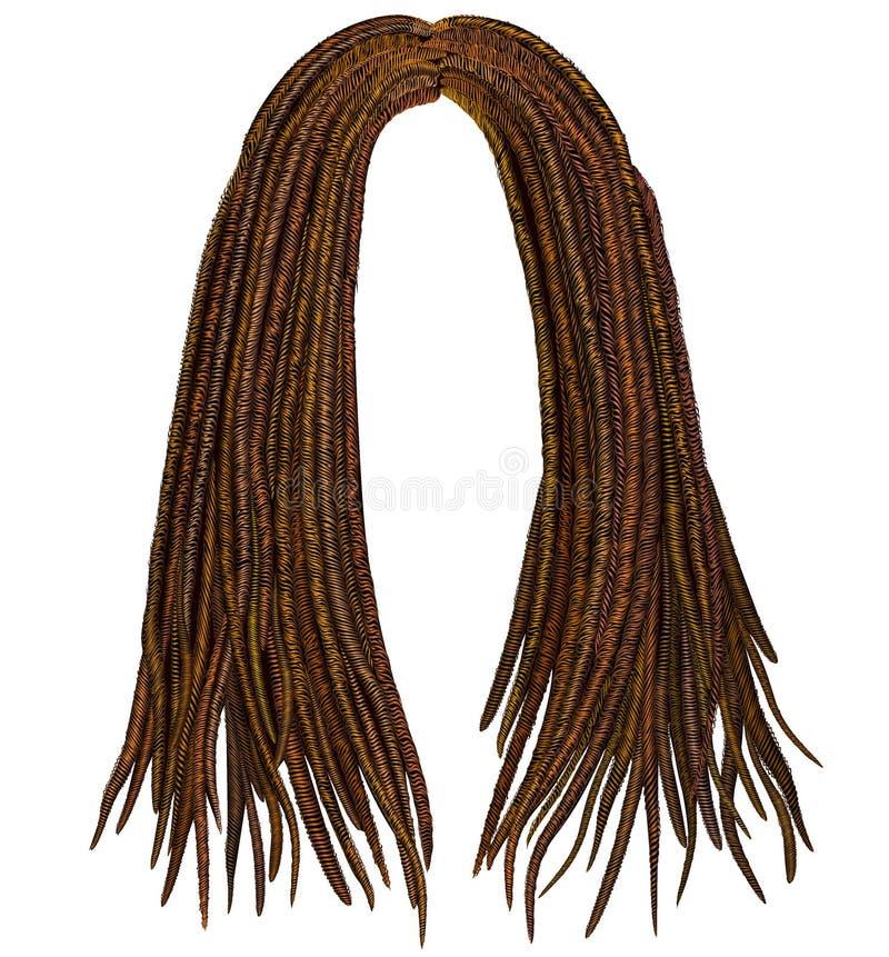 Trendy african long hair dreadlocks . fashion beauty style . vector illustration