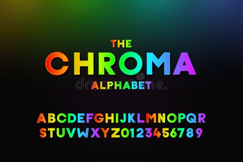 Trendy Alphabet mit Farbabstufungen in allen Farben Moderner Vektorschriftdesign-Effekt mit allen Farben des Regenbogens Briefe e lizenzfreie abbildung