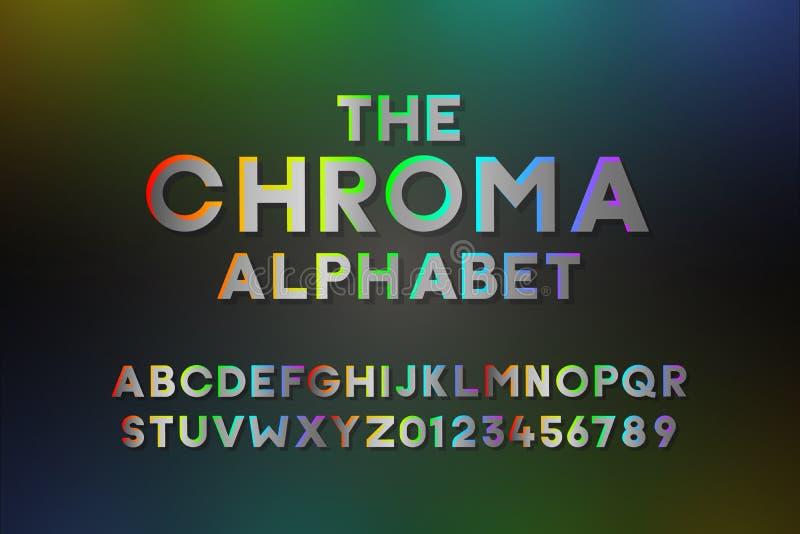 Trendy Alphabet mit Farbabstufungen in allen Farben Moderner Vektorschriftdesign-Effekt mit allen Farben des Regenbogens Briefe e stockbild