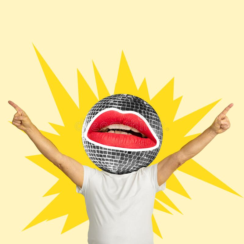 Trendy artwork, modern design. Contemporary art collage. Summertime concept. Party boy. Male body headed by disco ball on yellow background. Copyspace for your stock image