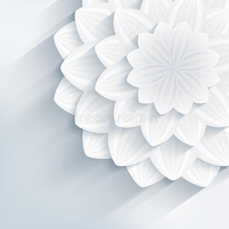 Trendy background with grey 3d flowers. Floral trendy creative background with white and gray stylized 3d flower. Beautiful stylish modern wallpaper. Greeting or royalty free illustration