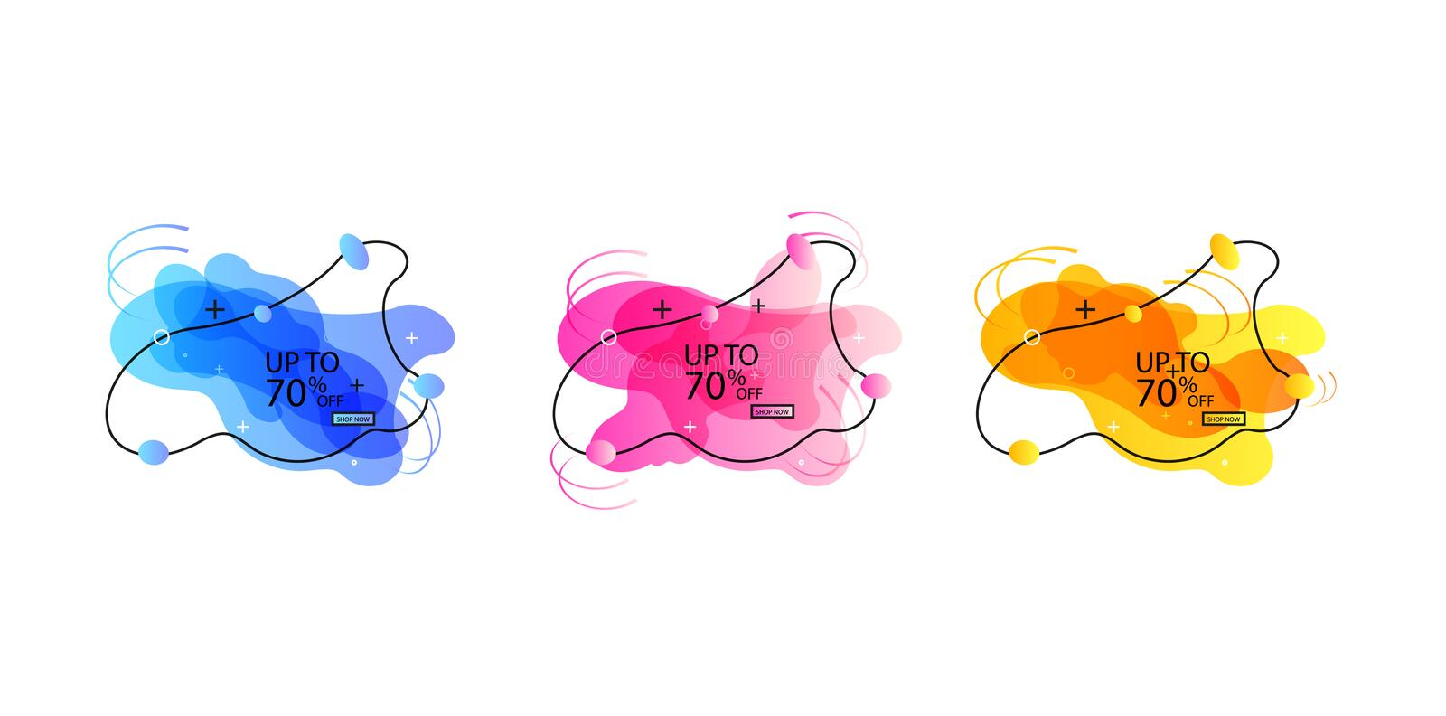 Trendy banner from liquid bubbles. Set of sale banners with trendy shapes. Vector discount banners royalty free illustration