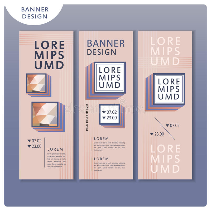 Trendy banner template design set. With square elements stock illustration