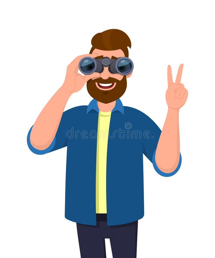 Trendy bearded man in casual wear looking through binoculars and gesturing, making victory, V, peace or number two sign with hand. Trendy bearded man in casual stock illustration