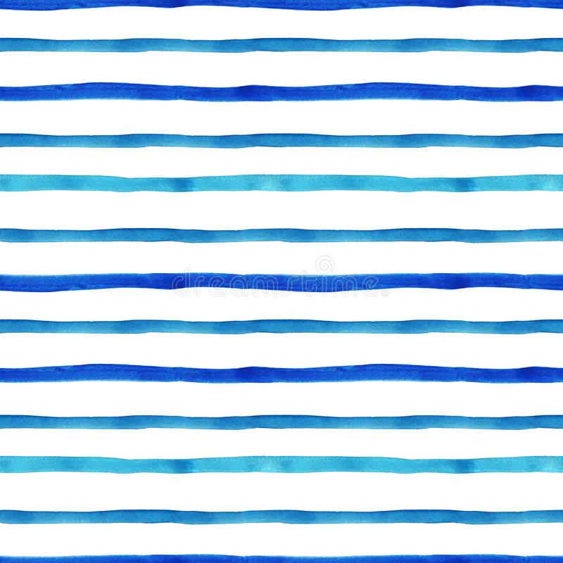 Trendy Blue and Turquoise watercolor stripe pattern. Seamless bright hand painted background with stripes. Nautical marine style for design with summer vibes royalty free illustration