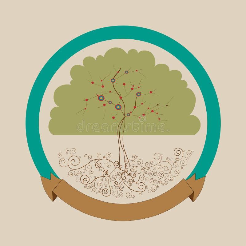 Trendy bright tree label design stock photos
