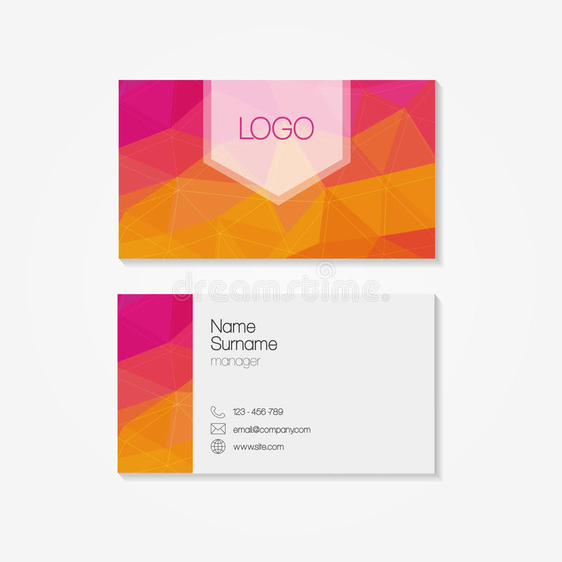 Trendy Business Card In Modern Low Polygon Style Stock Vector ...