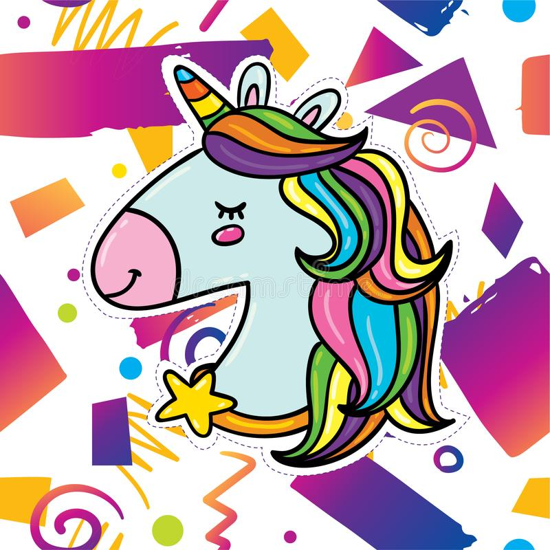 Trendy card design with unicorn stock illustration