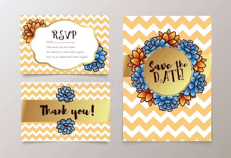 Trendy card with succulent for weddings, save the date invitation, RSVP and thank you cards. royalty free illustration