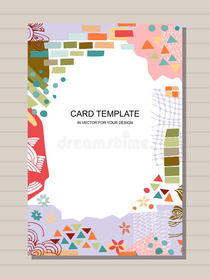 Trendy card template with colorful frame from different shapes and textures. Design for poster, invitation and greeting cards royalty free illustration
