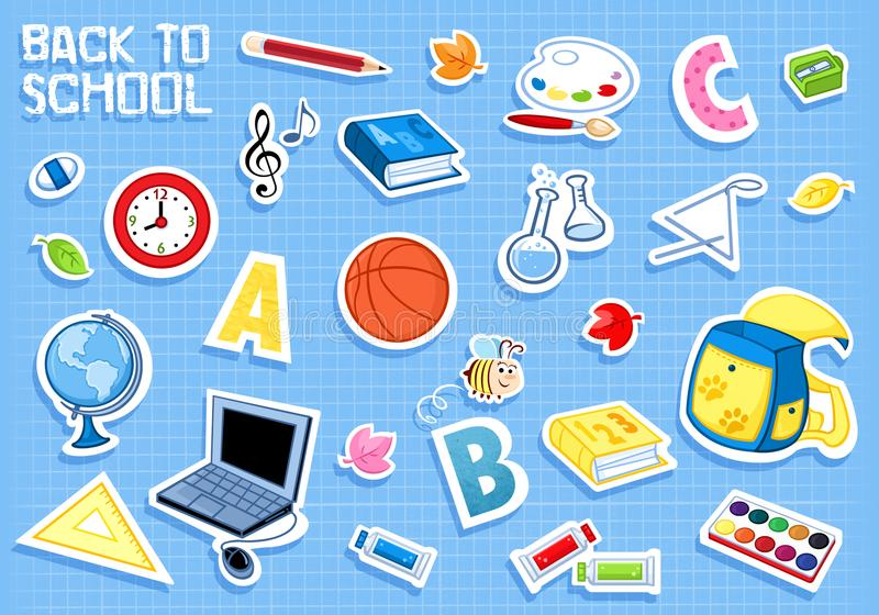 Back to school - it is time for learning. Trendy cartoon illustration - Back to school - different school subjects and elements - blue background - jpg file stock illustration