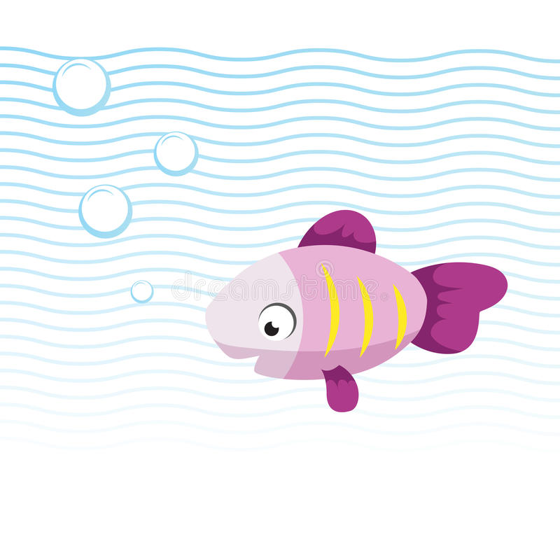 Trendy cartoon pink smiling fish swimming underwater. Blue waves and bubbles. royalty free illustration