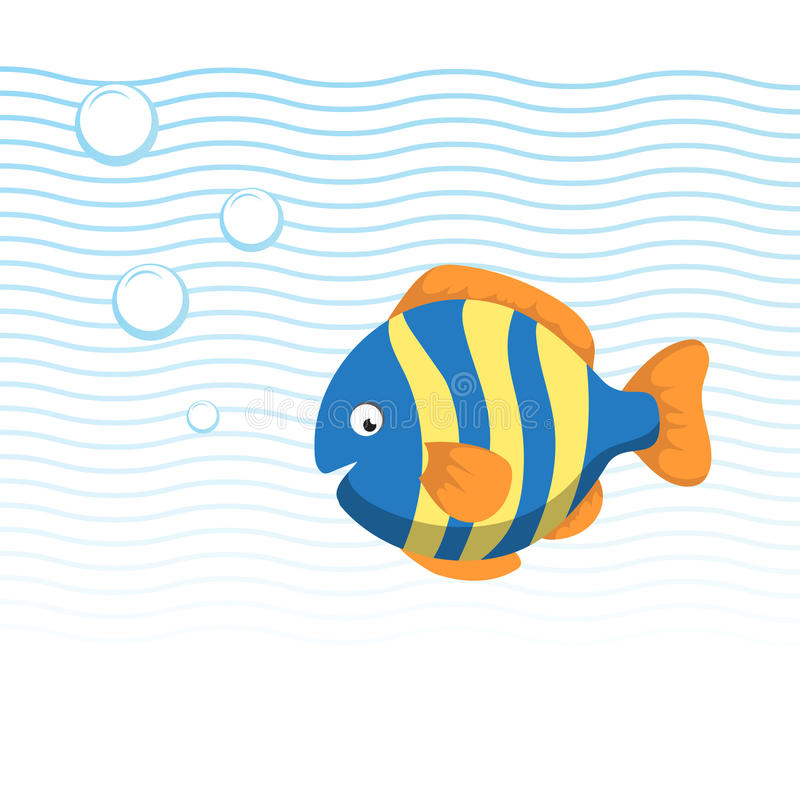 Trendy cartoon striped fish swimming underwater. Blue waves and bubbles. Colorful vector flat style illustration royalty free illustration