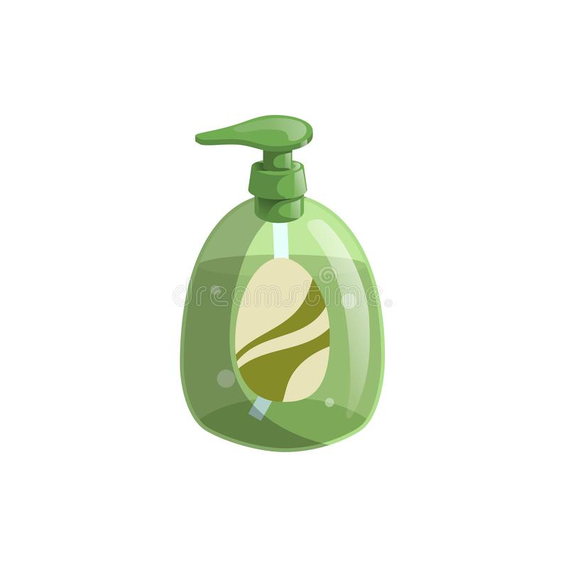 Trendy cartoon style green liquid soap bottle with dispenser and bubbles. Hygiene and health care vector illustration. EPS10 + JPEG preview royalty free illustration