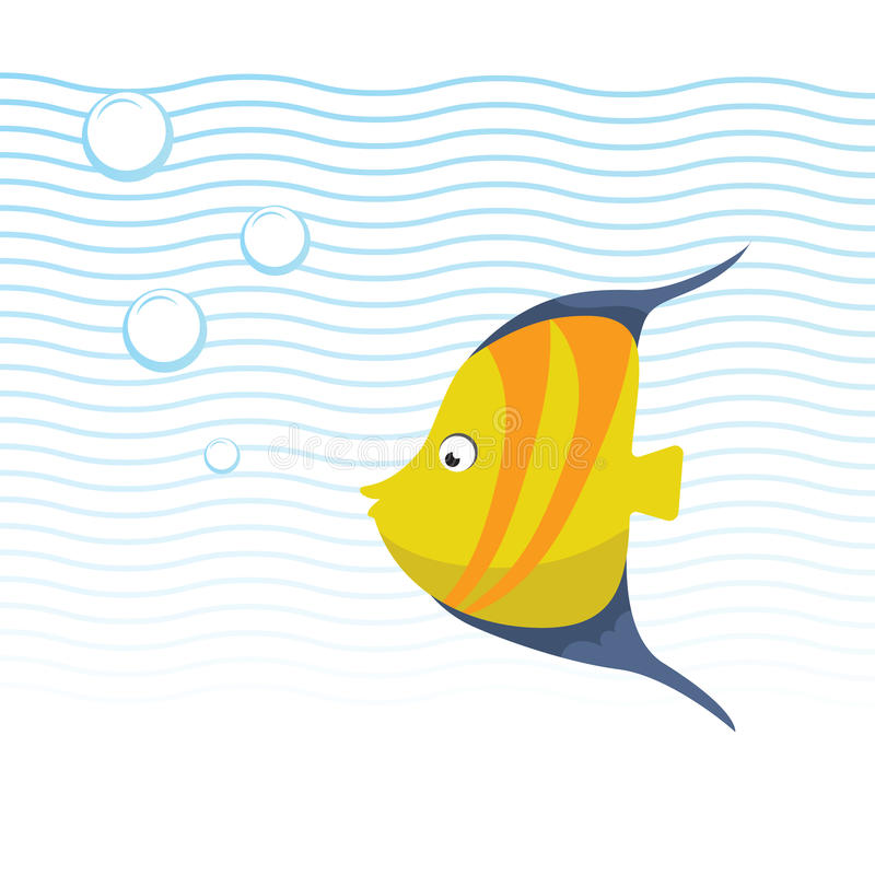 Trendy cartoon yellow striped fish with blue fins swimming underwater. Blue waves and bubbles. Funny design for kids stock illustration