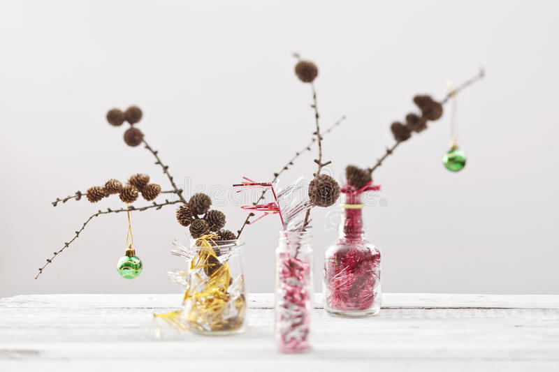 Trendy christmas decorations stock photos