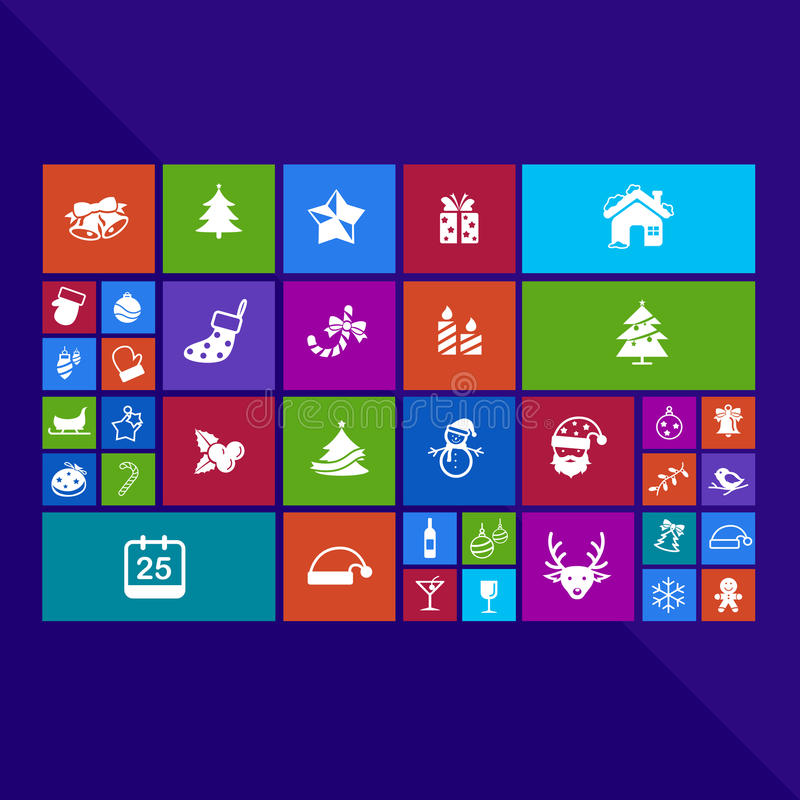 Trendy Christmas and holiday festival computer or mobile application app program with present and event ornament icon in colorful stock illustration