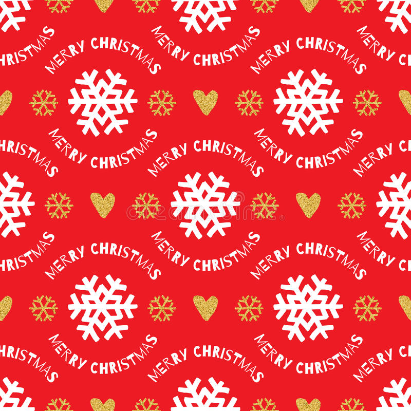 Trendy Christmas seamless pattern. Hand-drawn white, gold snowflakes, red background. Trendy Christmas seamless pattern. Hand-drawn white and gold snowflakes on vector illustration