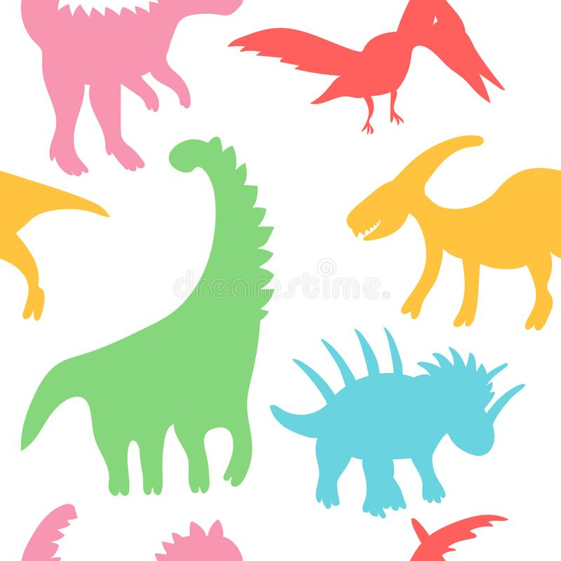 Trendy collection with colorful dinosaurs pattern kids. Creative childish seamless texture. Cute monster vector design. Colorful silhouettes of dinosaurs royalty free illustration