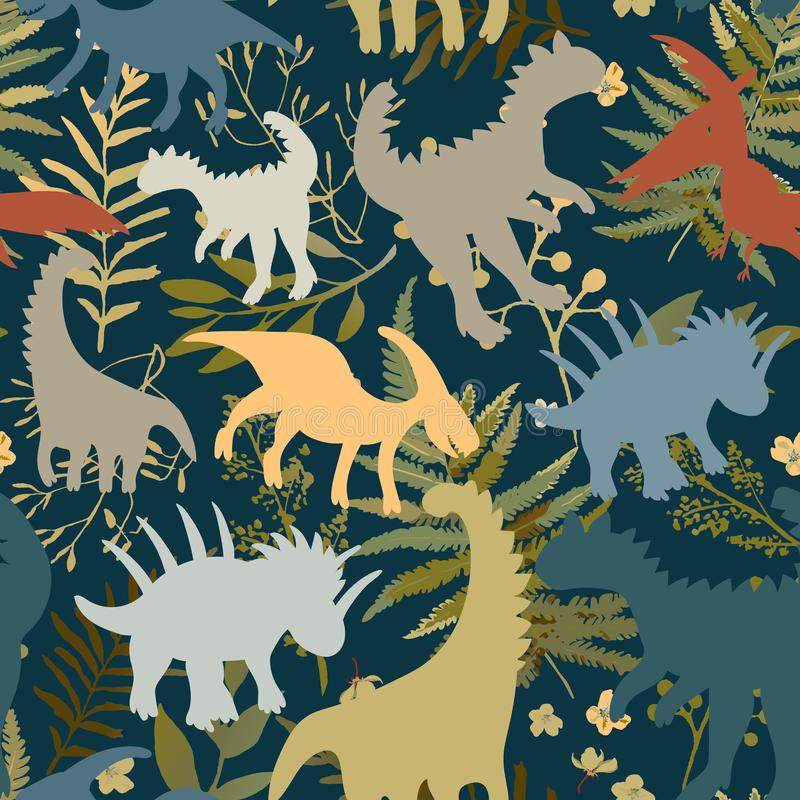Trendy collection with colorful dinosaurs pattern kids. Creative childish seamless texture. Cute monster vector design. Colorful silhouettes of dinosaurs on vector illustration
