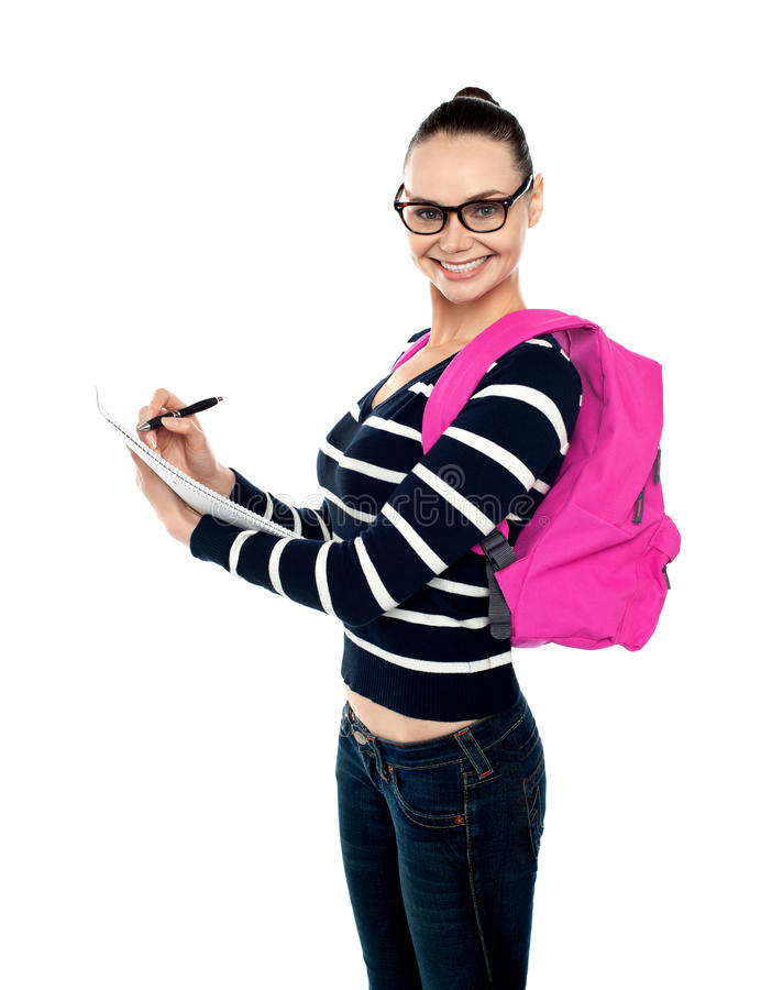 Download Trendy College Girl Taking Down Notes Stock Photo - Image: 26097912