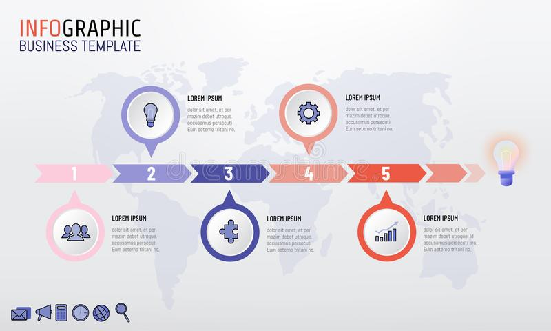Trendy color company timeline infographic template design with 5 options. Vector illustration stock illustration