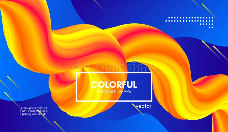 Trendy Color 3d Background. Wave Fluid Shape. royalty free illustration