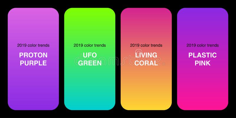 Trendy 2019 Color Palette Gradients collection as set of Plastic Pink, UFO Green, Proton Purple and Living Coral stock illustration