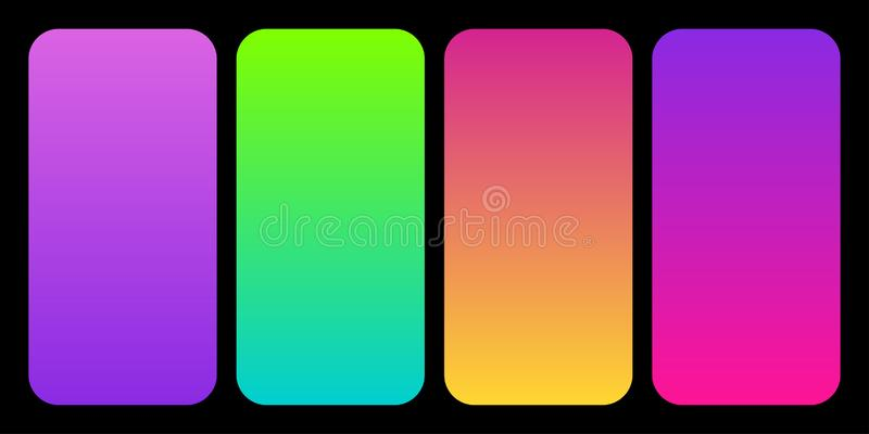 Trendy 2019 Color Palette Gradients collection as set of Plastic Pink, UFO Green, Proton Purple and Living Coral. Trendy 2019 Color Palette Gradients collection vector illustration