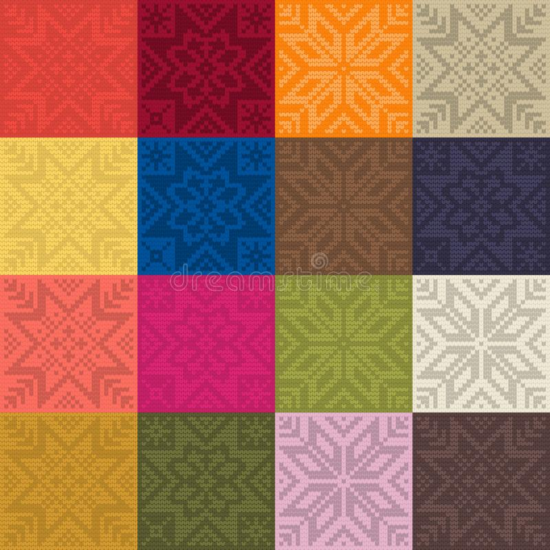 Trendy color seamless pattern by plain color knitted patches vector illustration