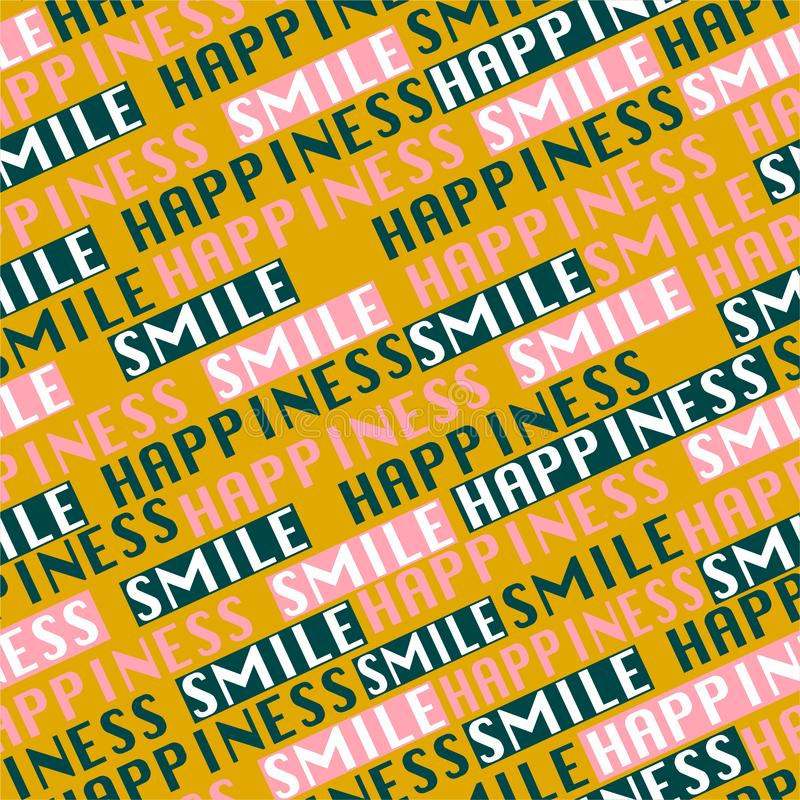 """Trendy color Typo diagonal line seamless pattern vector in wording """"HAPPINESS and Smile"""" postitive mood design for fashion, stock illustration"""