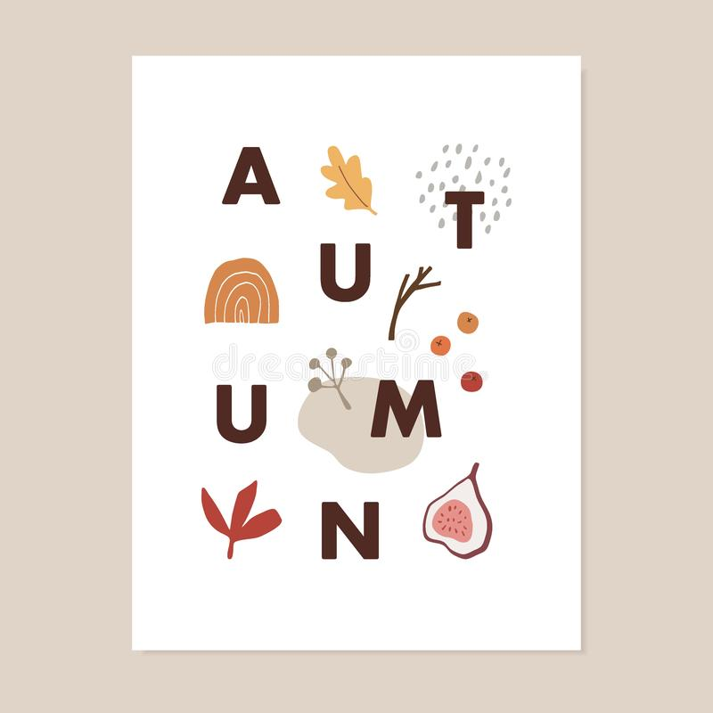 Trendy colorful fall greeting card, invitation. Autumn text with fig fruit, oak leaf, berries and abstract geometric royalty free illustration