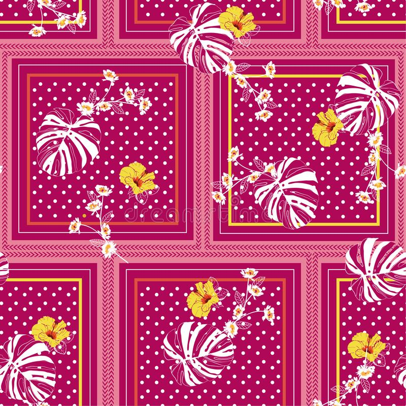Trendy and colorful seamless patern scarf polka dots mixed with tropical monstera leaves and exotic hibiscus flowers in the square stock illustration
