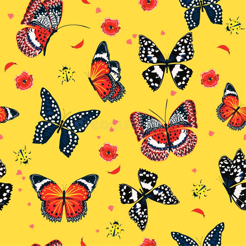 Trendy colorful summer butterflies flying ,lady bug,insect seamless pattern vector scattered repeat for fashion vector illustration