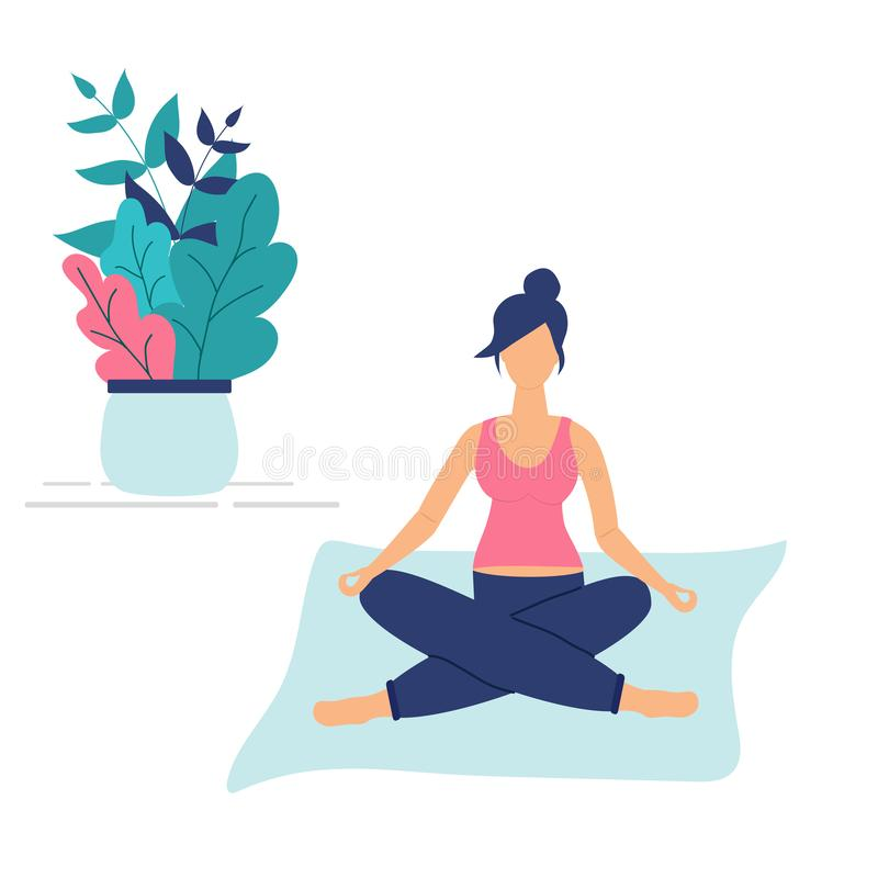 Trendy concept of fitness class:cute pregnant girl sit in yoga lotus pose.Flat Funky Figures style.Decorated beautiful leaves and royalty free illustration
