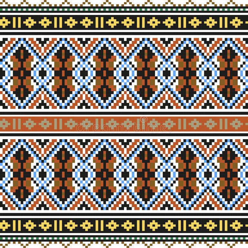 Trendy, contemporary ethnic seamless pattern, embroidery cross, squares, chevrons. stock illustration